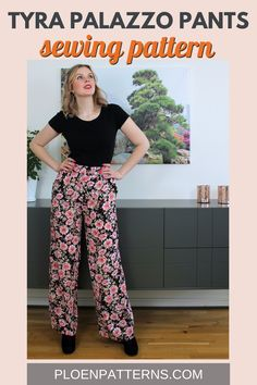 The Tyra trousers are the perfect addition to your wardrobe. This pattern has two versions. Culottes & Palazzo pants. Create two different looks! Sewing difficulty: Great for beginners. Sewing Lessons, Sewing Blogs, Fashion Sewing, Diy Fashion, Tailoring Techniques, Patterned Sheets, Free Sewing, Looks Great, Sewing Patterns