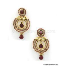 Rajwadi Earrings with Ruby Pearl work - Earrings by The Art Jewellery