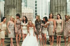 We have fallen in love with sequinned & metallic bridesmaid dresses. Silver, rose gold, champagne or bronze dresses, we are just crazy about all of them! Get inspired by our collection of mixed metallic bridesmaid dresses! Metallic Bridesmaid Dresses, Sparkly Bridesmaids, Mismatched Bridesmaid Dresses, Brides And Bridesmaids, Alternative Bridesmaid Dresses, Party Looks, Wedding Attire, Wedding Dresses, Best Bride