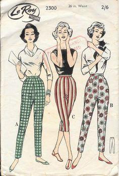 """vintage 1950s """"Le Roy"""" paper pattern of women's Capri pants"""
