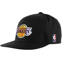 119354caf883e adidas Los Angeles Lakers Black Flat Bill Fitted Hat