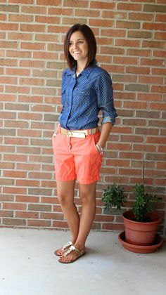Casual shorts summer outfit combinations orange shorts outfit, summer o Orange Shorts Outfit, Bermuda Shorts Outfit, Summer Shorts, Long Shorts, Black Shorts Outfit Summer, Summer Denim, Orange Dress, Mode Outfits, Short Outfits