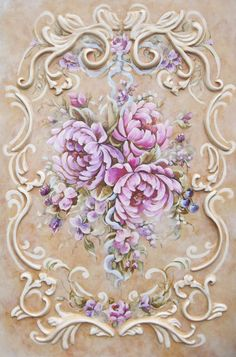 Peonie painting with sculpted ornamental design