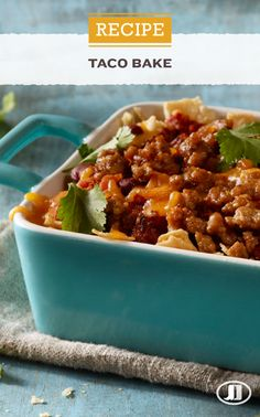 Celebrate Cinco De Mayo with a real party of bold flavors. Our Taco Bake recipe is made with Jimmy Dean Premium Pork Hot Roll Sausage, onions, tomatoes, shredded cheddar and fresh cilantro. Sausage Recipes For Dinner, Entree Recipes, Easy Dinner Recipes, Appetizer Recipes, Beef Recipes, Taco Bake, Taco Casserole, Casserole Recipes, Hot Sausage
