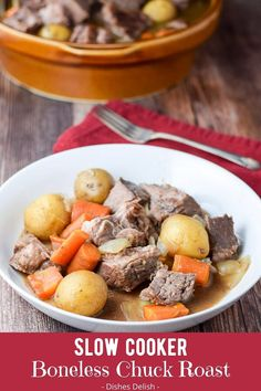 This slow cooker boneless chuck roast recipe leaves the meat and vegetables tender and delicious. The beauty of this recipe is the slow cooker does all the work, while you reap the benefits! Boneless Chuck Roast Recipes, Pot Roast Recipes, Entree Recipes, Pork Recipes, Slow Cooker Recipes, Weeknight Recipes, Weeknight Dinners, Crockpot Recipes, Slow Cooker Roast Beef