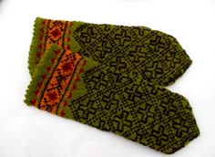 Hand knitted wool mittens knitted latvian by peonijahandmadeshop
