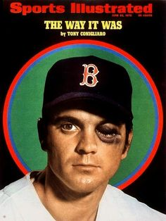 Red Sox right fielder Tony Bonigliaro on the 22 June issue of Sports Illustrated magazine, from a portrait taken after a pitch hit his left cheekbone causing permanent eyesight damage, United States, 1970, photograph by Neil Leifer. Conigliaro would make a comeback a year and a half later.