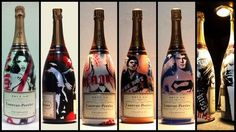 Projet Laurent Perrier - hand customized on Laurent Perrier bottles - 2009 Laurent Perrier, Prosecco, Bottles, Drinks, Nice, Food, Design, Objects, Drinking