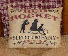 Red Rocket Sled Company Snowman Country Primitive Christmas Pillow Cupboard Tuck Sitter