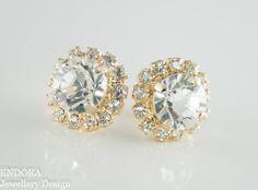 Clear Crystal earrings,Gold Post earrings,Silver Post earrings,Crystal earrings,Wedding jewelry,Beach Bridal jewelry,Bridal earrings