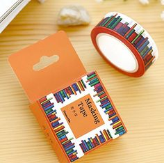 Wide Amazing Library Books Washi Tape DIY Scrapbooking Sticker Label Masking Tape School Office Supply *** Visit the image link more details.