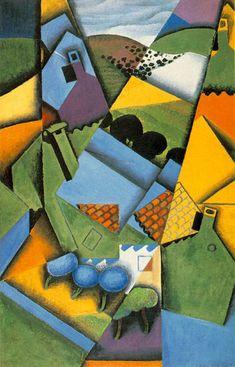 """Juan Gris, """"Paysage avec maisons à Ceret"""", 1913"""