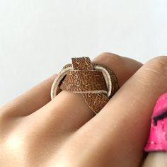 Brown and Gold Leather Ring // Braided Ring // by ByLawLondon