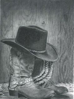 Cowboy boots and hat by on DeviantArt Cowboy boots and hat Traditional Art / Drawings / Still I drew this from a pic I found online.It's charcoal pencil on bristol paper. It only took me a couple of days, too! Cowboy Draw, Cowboy And Cowgirl, Cowboy Boots, Cowboy Hat Drawing, Pencil Art, Pencil Drawings, Art Drawings, Graphite Drawings, Charcoal Drawings