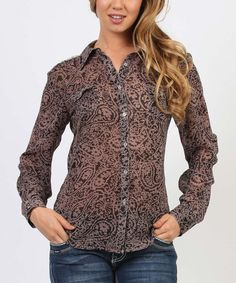 Take+a+look+at+this+Black+Sheer+Paisley+Button-Up+on+zulily+today!
