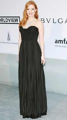 Cannes 2014: Jessica Chastain in this black strapless Givenchy Couture dress, which she paired with a stunning necklace by Tesiro.