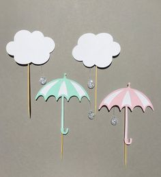 Umbrella Cupcake Toppers Rain Cupcake Toppers by PaperLyss