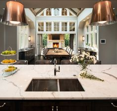 Kitchen with Marble Countertop.  John Kraemer & Sons.