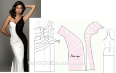 Modelagem de vestido com drapeado sinuoso frontal. Fonte: https://www.facebook.com/photo.php?fbid=704072762954998&set=a.262773027084976.75978.143734568988823&type=1&theater