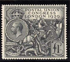The (rightly) much admired PUC 1929 £1 issue. An extraordinarily high value stamp for its time but also a design classic.
