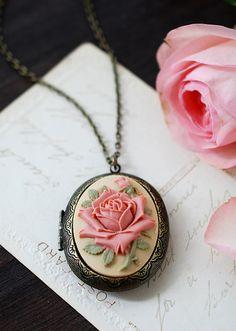 Large Rose Cameo Locket Necklace. Vintage Inspired Antique Brass Dark Ivory Dusky Pink Rose Oval Locket Necklace. Unique Gift