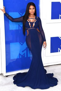 MTV VMAs 2016: Best Dressed Stars - Nicki Minj in a navy sheer Bao Tranchi cutout dress