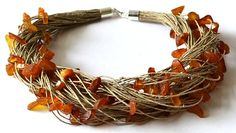 Simply Sophisticated Raw Amber Linen Necklace. Natural Amber Linen Necklace.    This particular necklace is made of raw Baltic amber.    If you search for