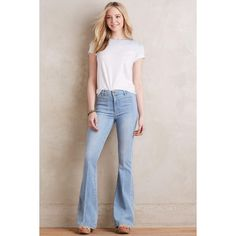 Paige Vintage High-Rise Bell Canyon Jeans (285 CAD) ❤ liked on Polyvore featuring jeans, samira, slim fit jeans, flare jeans, slim jeans, high-rise flared jeans and vintage high waisted jeans
