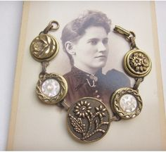Beautiful 1800's Brass Picture Button Bracelet.  Carved Pearl and Mirror Border Buttons.  Vintage Button Bracelet B389