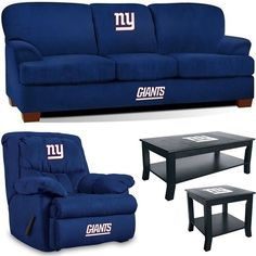 [[start tab]] Description The New York Giants Supreme Fan Cave Set includes the First Team Sofa, the Home Team Rocker Wall-Away Recliner and the matching Coffee Table and Side Table. The Sofa is a lit