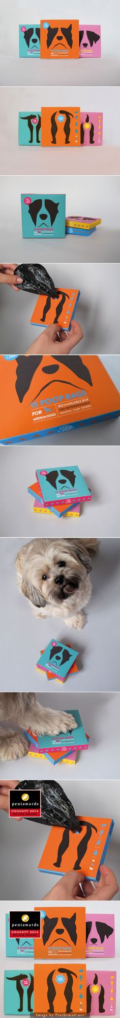 Nom d'un chien (Concept) by Marine Bacot AKA Hilarious Poop Bags Packaging Awards, Clever Packaging, Innovative Packaging, Brand Packaging, Animal Design, Dog Design, Pet Branding, Green Label, Dog Logo