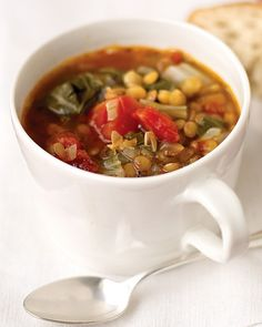 Lentils, canned diced tomatoes, and two bunches of Swiss chard form the base of this healthful, filling, and economical soup. Serve for casual weeknight dinners with whole-grain bread.