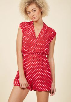 Read It and Steep Romper in Red Polka Dot in S, #ModCloth