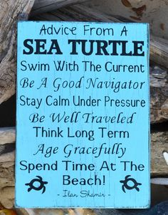Beach Decor - Beach Sign - Nature - Advice From A Sea Turtle - Wood Sign - Beach House Decor - Home Decor - Wood, Hand Painted