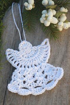 Little handmade angel :) Crochet Christmas Decorations, Christmas Crochet Patterns, Holiday Crochet, Christmas Knitting, Christmas Crafts, Crochet Angel Pattern, Crochet Angels, Cute Crochet, Knit Crochet