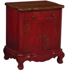 Red Distressed Nightstand - Belle Escape ($895) ❤ liked on Polyvore
