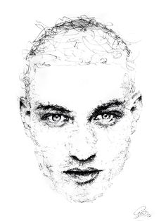 df23111caa3b4 Scribble portrait by Gus Romano. Sketch with black pen and ink. Artwork  fashion art