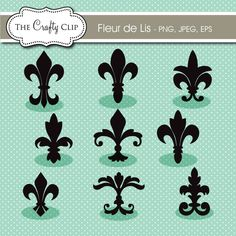 Fleur de Lis Clipart is perfect for creating monograms, banners, signs and crafts.
