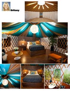 Yurts. Don't Box Yourself In!  Create the space you long for: luxurious, simple or somewhere in between. ( Britany a finalist contestant on HGTV Design Star  decorated this yurt)
