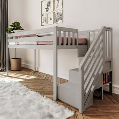 Harriet Bee Twin-Size Low Loft Bed With Staircase, White Bed Frame Color: Gray Toddler Loft Beds, Adult Loft Bed, Loft Design, Bed Design, Playroom Design, Loft Beds For Small Rooms, Loft Beds For Teens, Double Loft Beds, Loft Bed Frame
