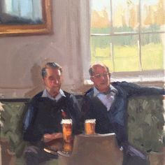 Painting of the Pensioners at Royal Hospital Chelsea in there Club House drinking a pint.  Artist: Charlotte Partridge