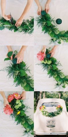Directions:  1. Cut Garland to desired length,  2. Attach soaked oasis to the ends of the garland floral wire,  3. Insert greenery or longer stemmed flowers to the base of the oasis,  4. Insert larger blooms on the top part of the oasis,  5. Covering the oasis with the flowers entirely.