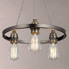 Buy John Lewis Bistro Hoop Pendant Ceiling Light, 3 Light, Pewter Online at johnlewis.com