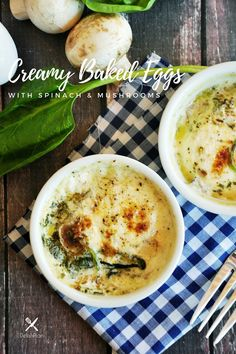 These creamy gluten-free baked eggs make a quick and easy breakfast that's delicious and healthy! Ramakin Recipes, Whole Food Recipes, Sweets Recipes, Family Recipes, Kitchen Recipes, Cupcake Recipes, Vegetarian Recipes Easy, Healthy Recipes, Delicious Recipes