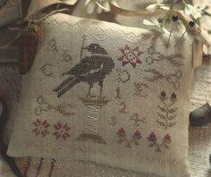 Primitive Folk Art Cross Stitch Pattern: THE SEWING BIRD - Hanging Pinkeep