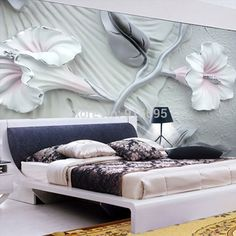 Wallpaper 3D Bedroom Mural Roll Modern Luxury Embossed flowers Background #Unbranded
