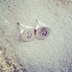 personalized  tiny hand stamped initial post earrings  on Etsy, $13.00