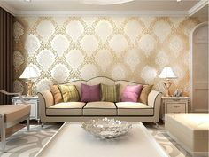 europe damask classical designs glitter wallpaper for wall in bedroom papel de parede 3d moderno-in Wallpapers from Home & Garden on Aliexpress.com | Alibaba Group