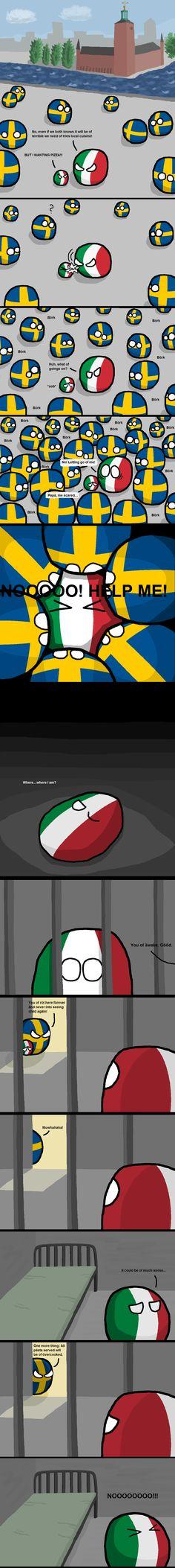 """""""Bad parenting"""" ( Sweden, Italy ) by peritektikum #polandball #countryball #flagball Man använder inte å ä ö så"""