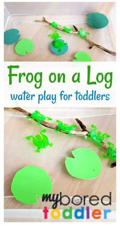 Frogs on a speckled log water play activity for toddlers, babies and preschoolers. This is a great spring activity using water play and also encourages counting in a fun, play based sensory play activity. #toddleractivity #counting #waterplay